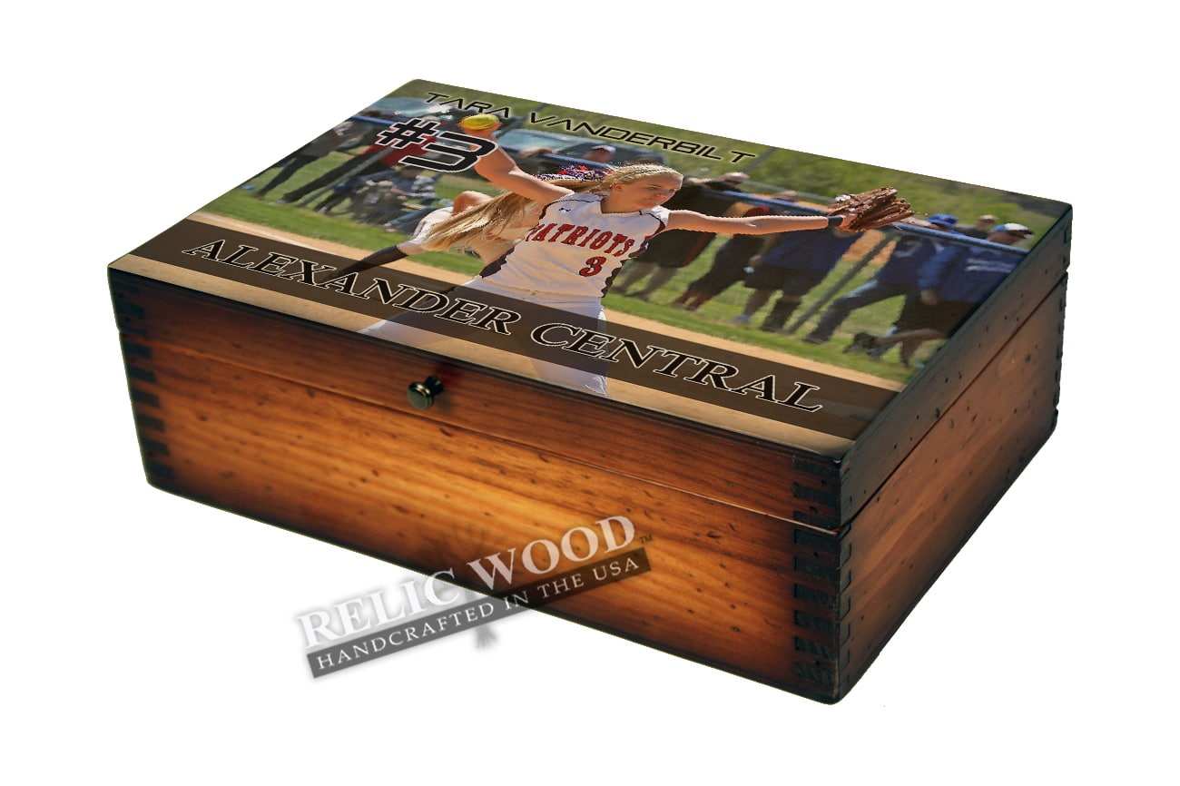 personalized softball player memory box gifts. Black Bedroom Furniture Sets. Home Design Ideas