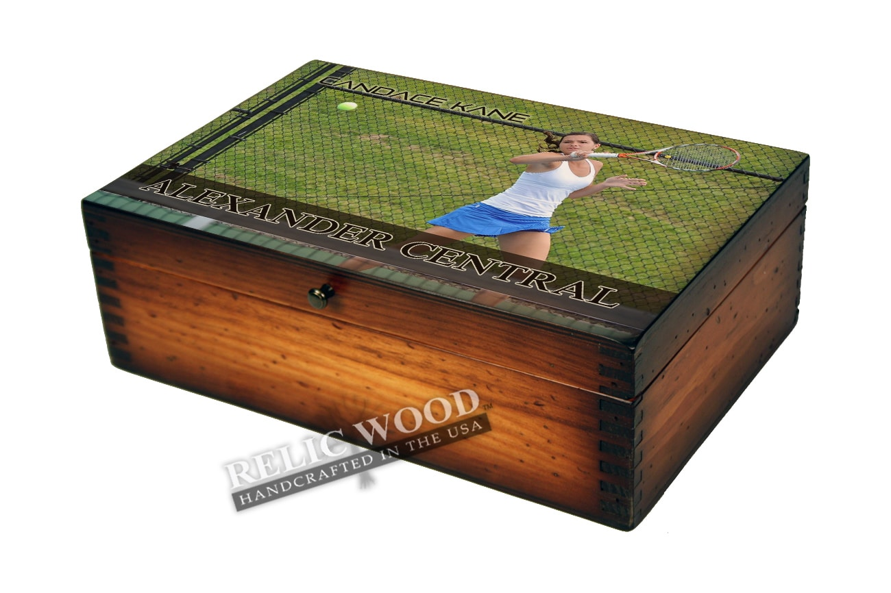 Personalized Tennis ...  sc 1 st  Relic Wood & Personalized Tennis Player Memory Box