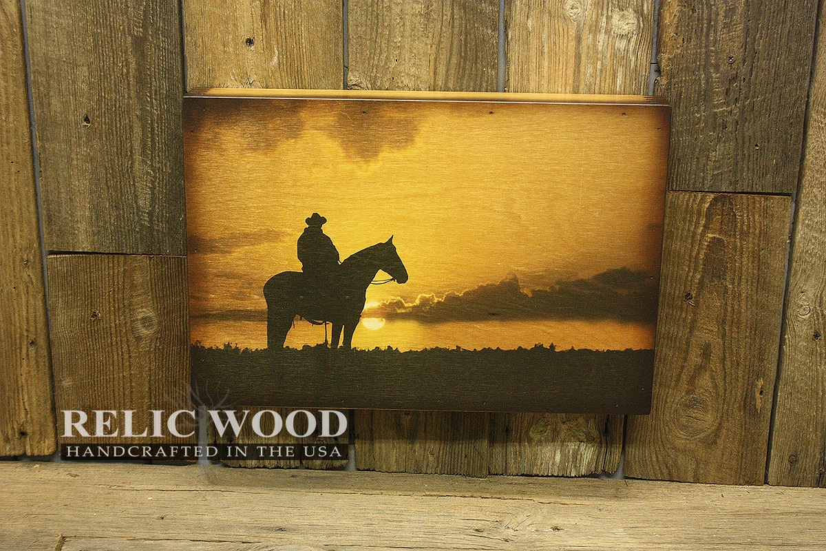 Lone cowboy silhouette handcrafted wall art for Cowboy wall mural